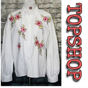 Topshop button front blouse with flowers